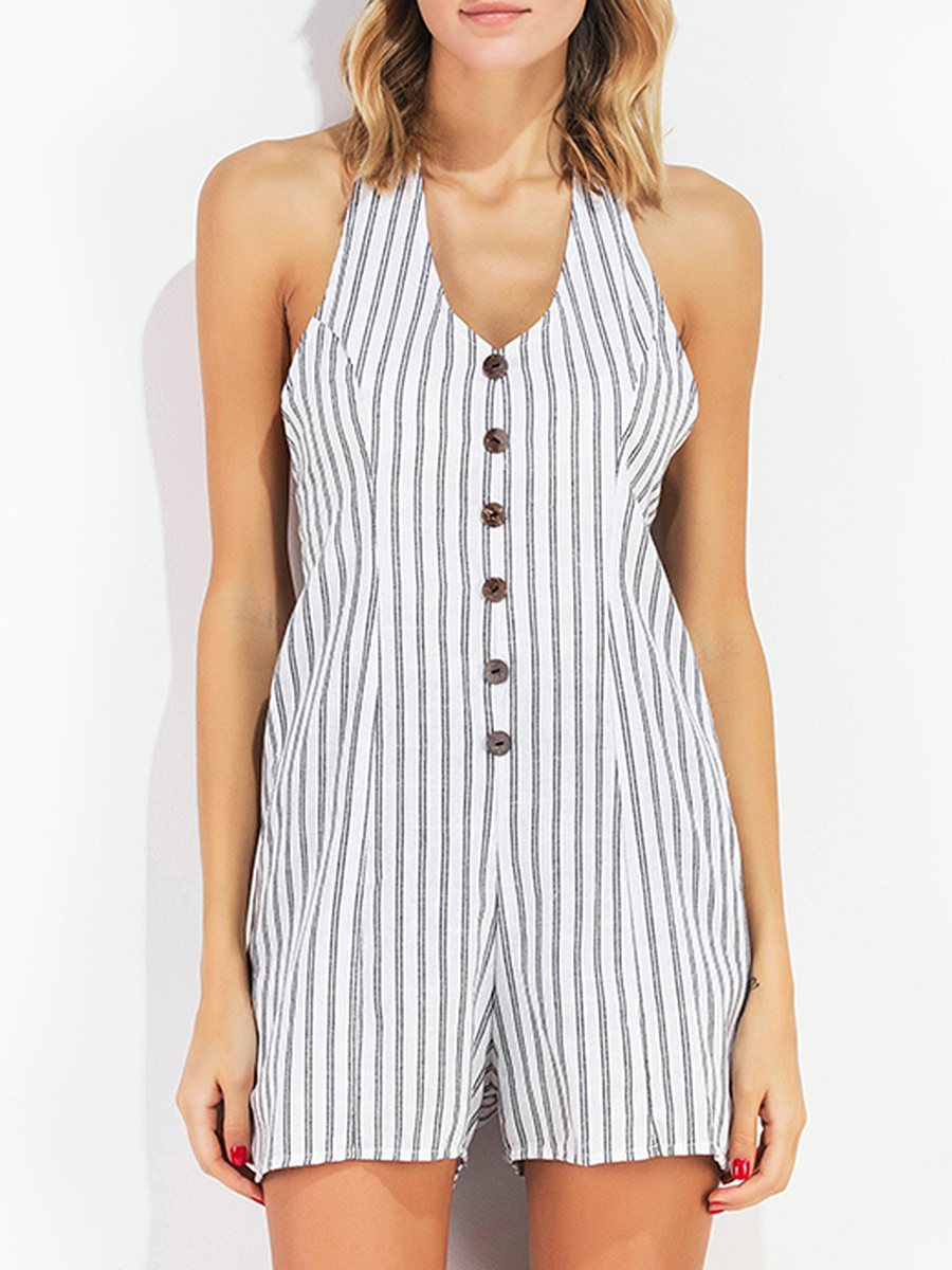 Vertical Striped Halter Decorative Button Romper