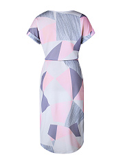 V-Neck  Abstract Print Plus Size Bodycon Dresses