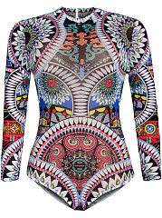 Long Sleeve Band Collar Extraordinary Printed One Piece