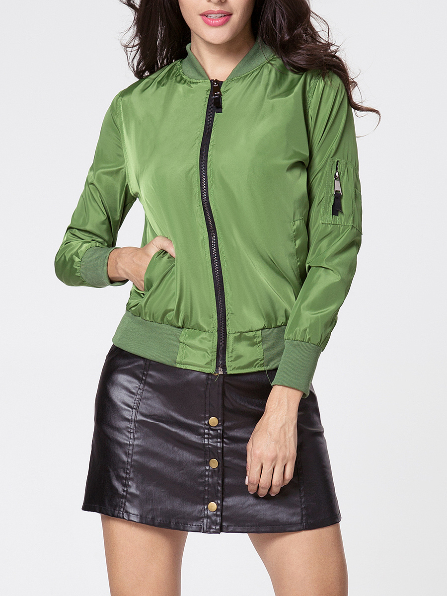 Band Collar  Zips  Plain Jacket