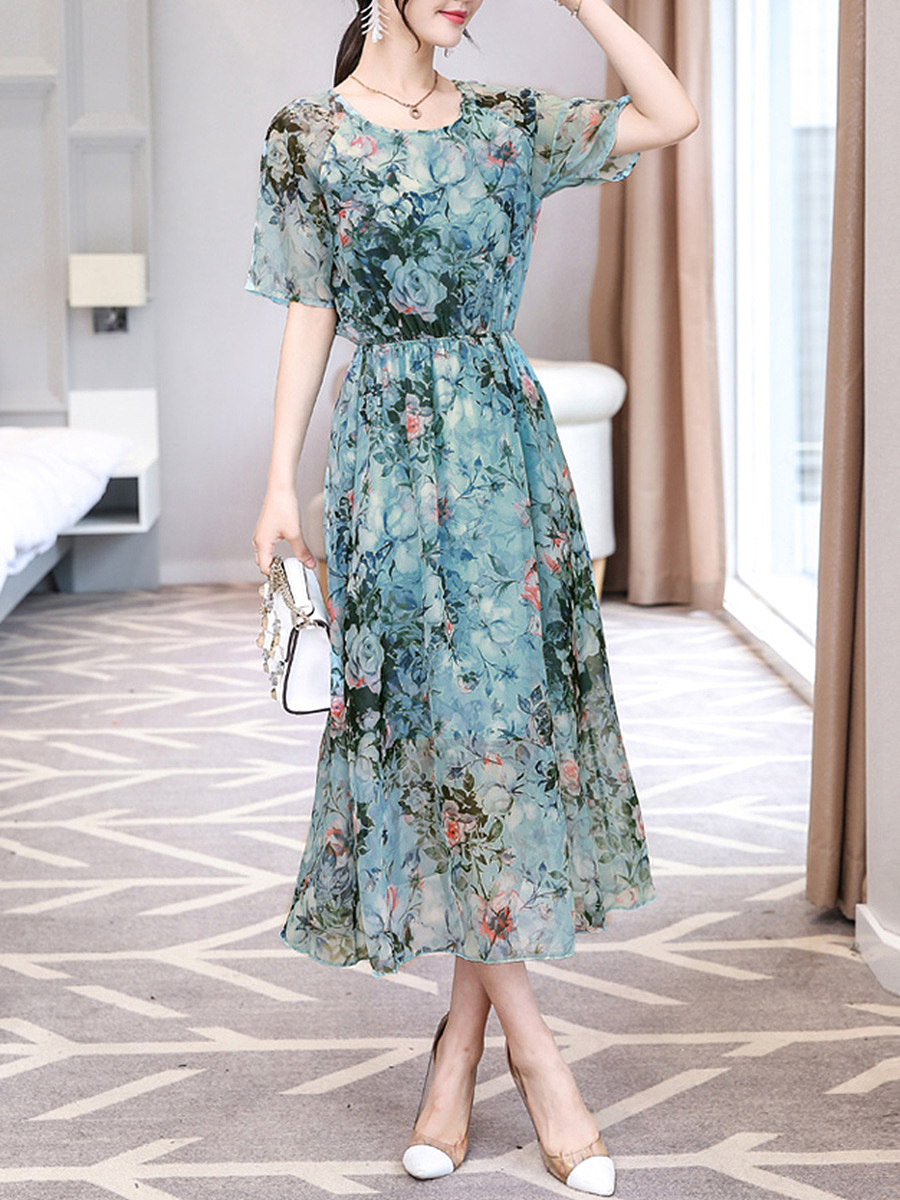Floral Printed Hollow Out Round Neck Chiffon Maxi Dress