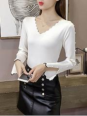 V-Neck-Beading-Plain-Long-Sleeve-Sweaters