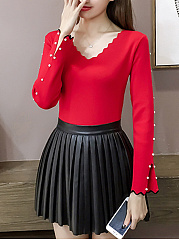 V-Neck  Beading  Plain  Long Sleeve Sweaters