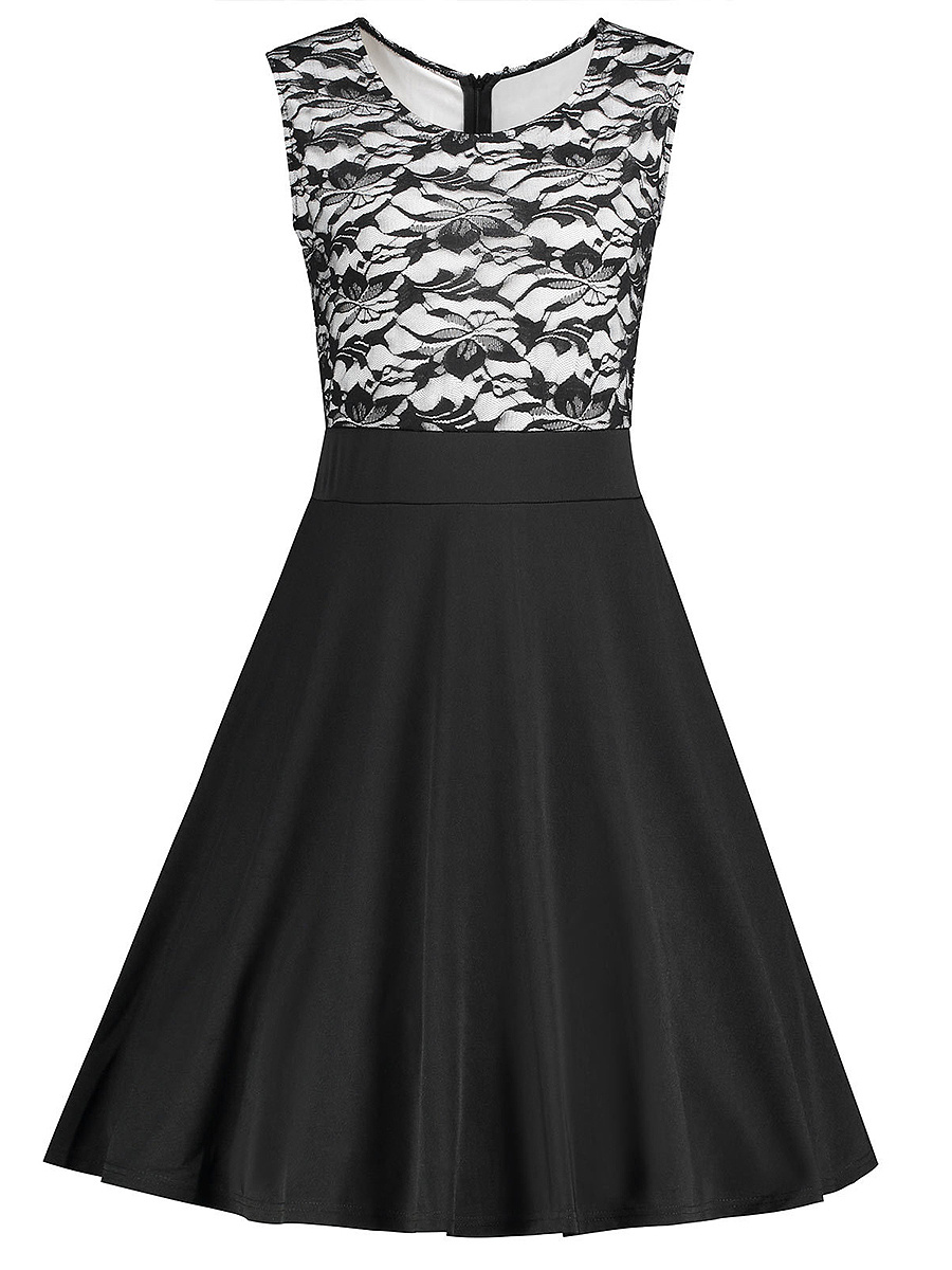 Round Neck Patchwork Skater Dress