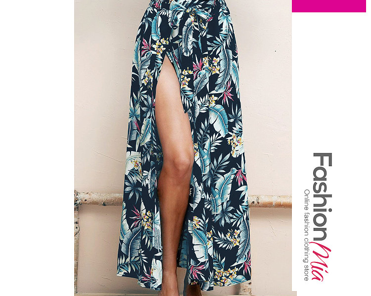 Blue Printed Knee-Length Skirts For Women