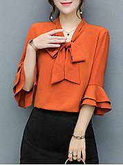 Tie Collar Bowknot Plain Bell Sleeve Blouse