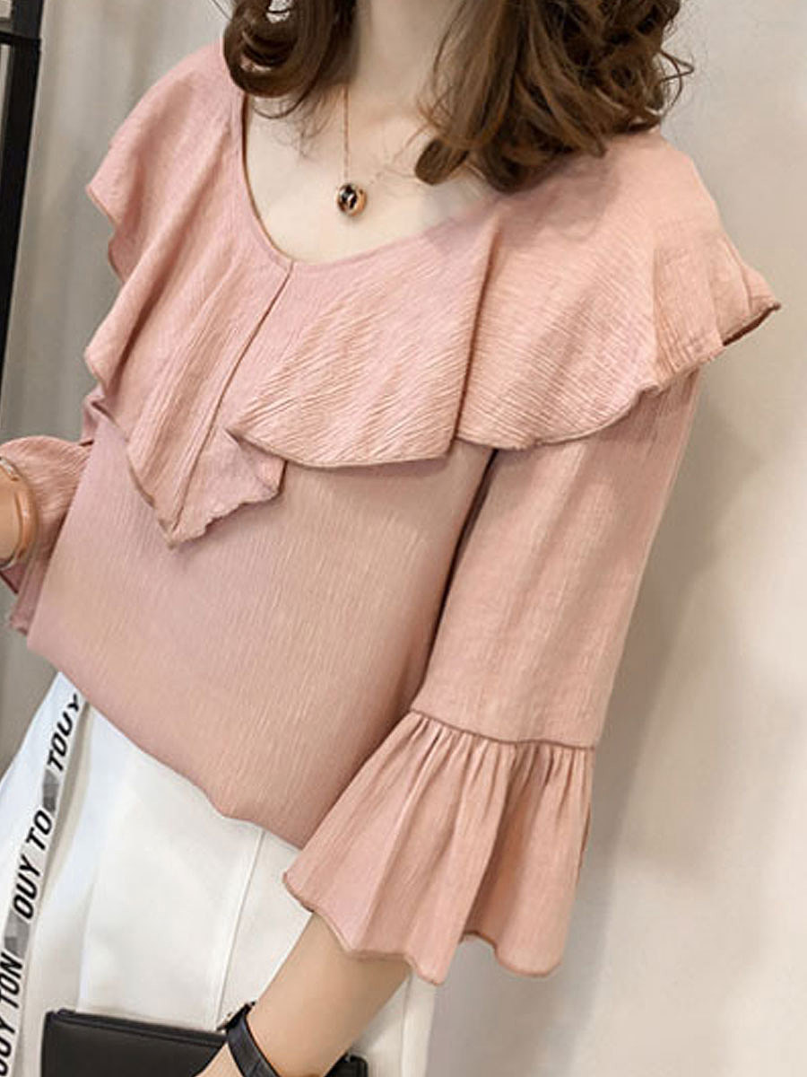 Spring Summer  Polyester  Women  V-Neck  Flounce  Plain  Bell Sleeve  Three-Quarter Sleeve Blouses