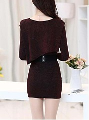 Hot Round Neck Belt Mini Bodycon Dress