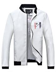 Band-Collar-Pocket-Printed-PU-Leather-Men-Jacket