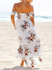 Off Shoulder  Printed Plus Size Midi & Maxi Dresses