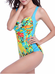 Abstract Print Pleated Bodice Scoop Back One Piece