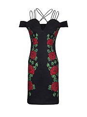 Strappy Open Shoulder Floral Printed Bodycon Dress
