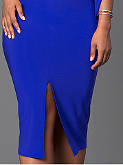 V-Neck  Slit  Plain Plus Size Bodycon Dress