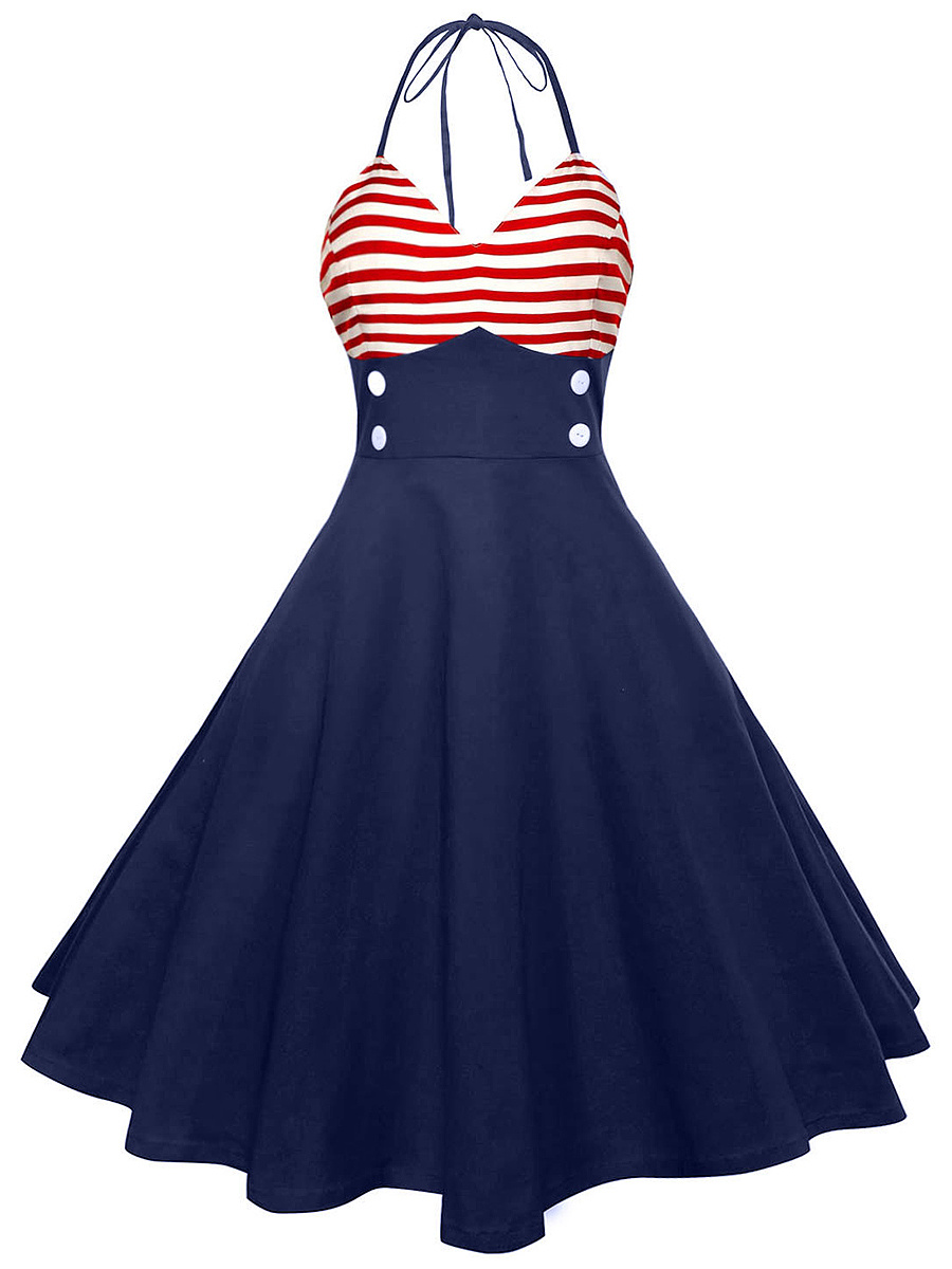 Halter Striped Decorative Button Midi Skater Dress