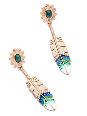 Feather-Shaped Rhinestone Drop Earrings