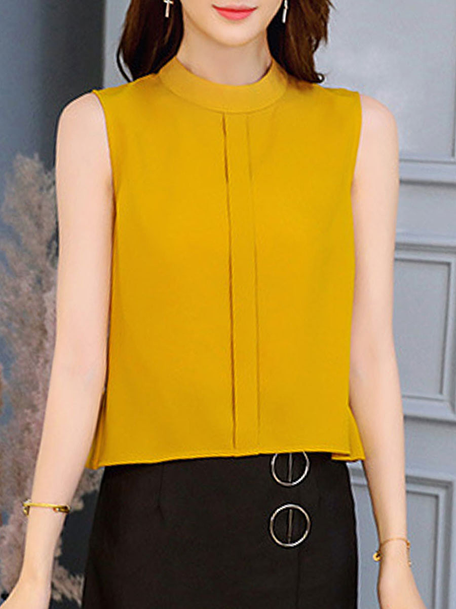 Summer  Polyester  Women  Round Neck  Plain  Sleeveless Blouses