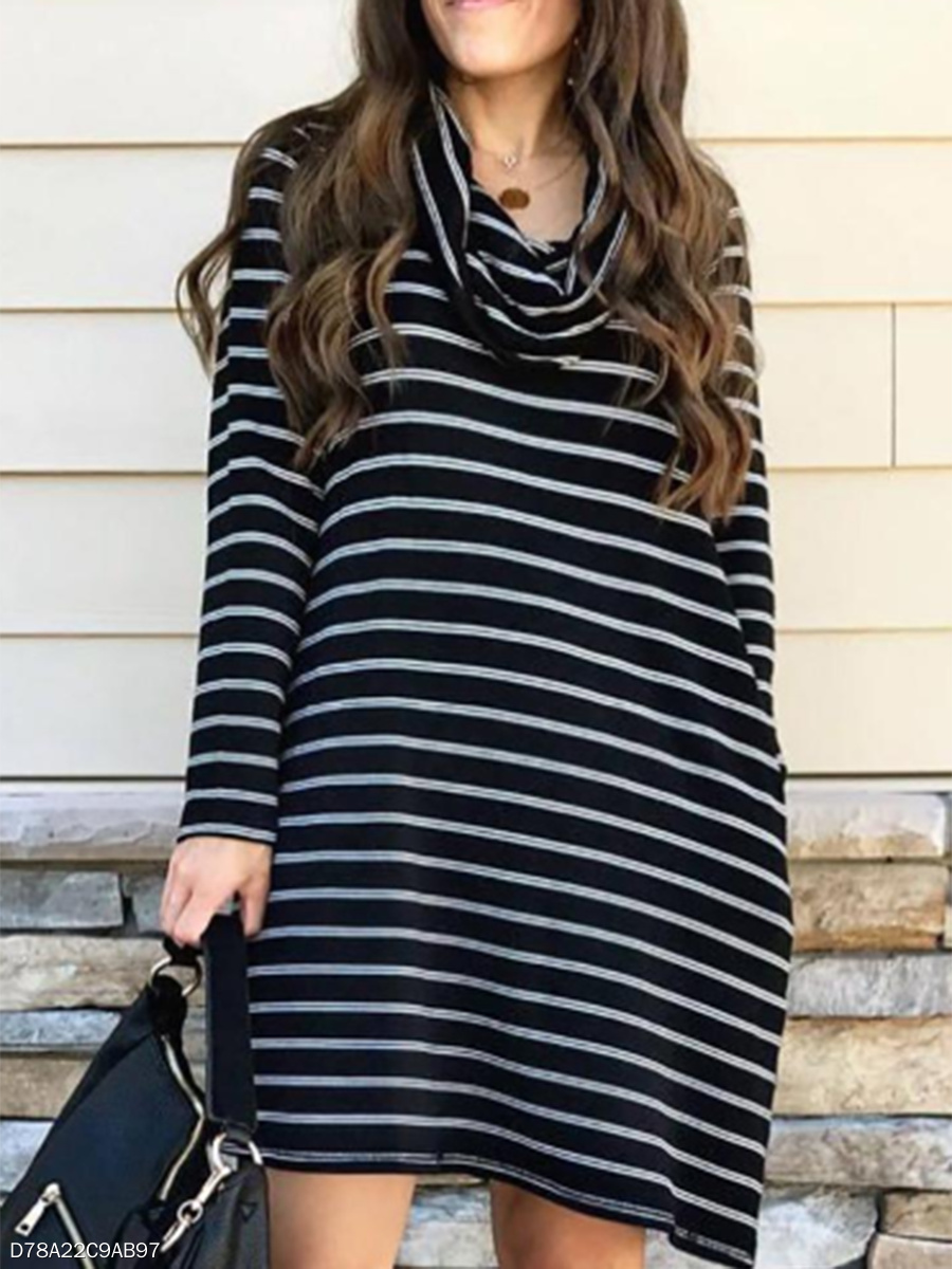 High Neck Casual Striped Daily Shift Dress