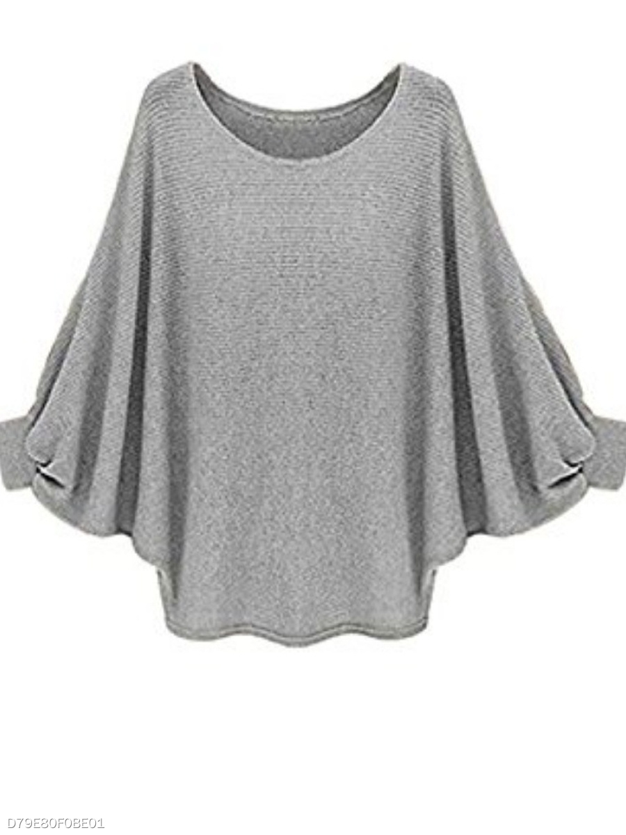 90f7962146 Round Neck Plain Long Sleeve Sweaters Pullover - fashionMia.com