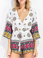 Hot-Deep-V-Neck-Drawstring-Tribal-Printed-Romper