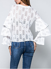 Flounce See-Through  Lace  Bell Sleeve Blouses