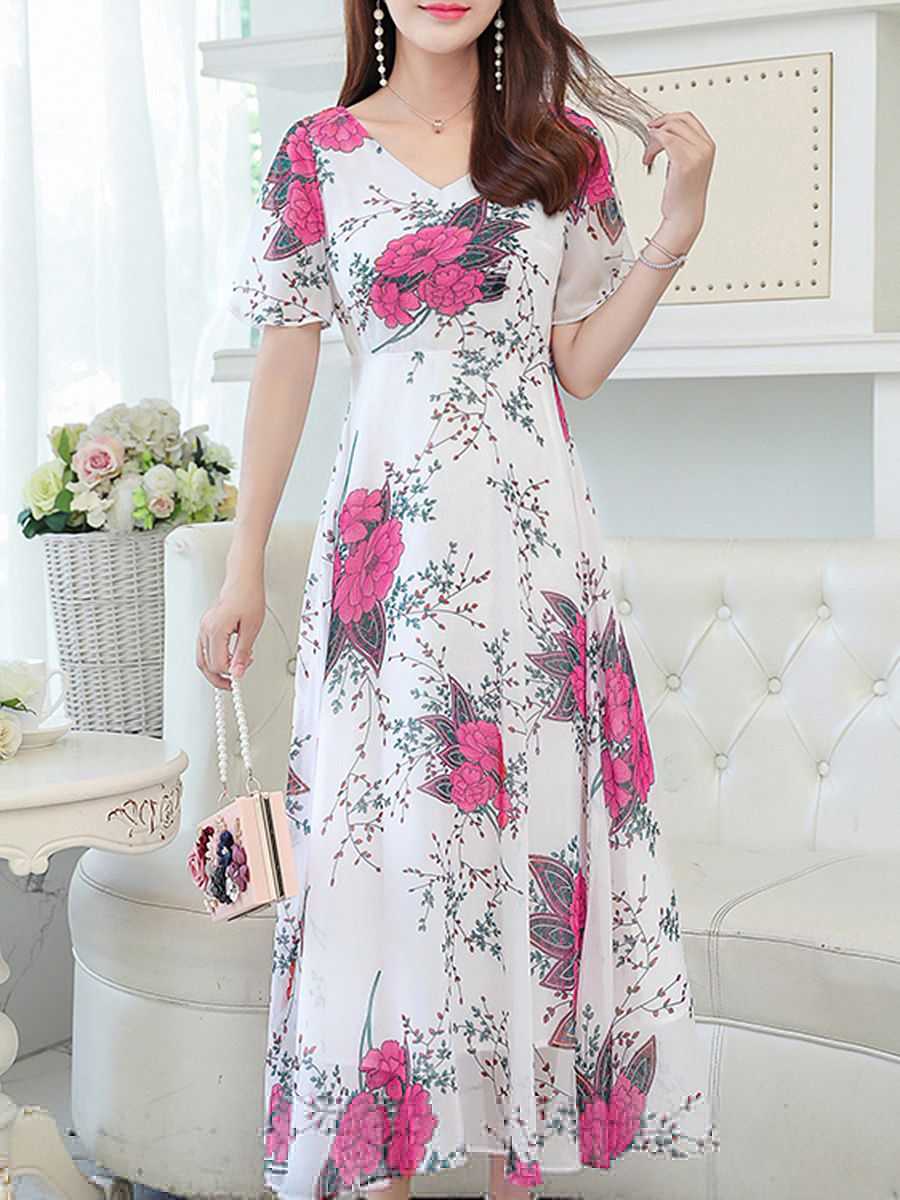 V-Neck Chiffon Flared Maxi Dress In Floral Printed
