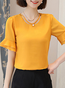 Round Neck  Beading Patchwork  Plain  Bell Sleeve Blouses