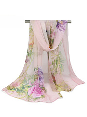 Peony Floral Printed Long Scarf