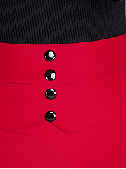 Decorative Button Plain Pencil Mini Skirt