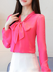Autumn Spring  Polyester  Women  Tie Collar  See-Through  Plain  Long Sleeve Blouses