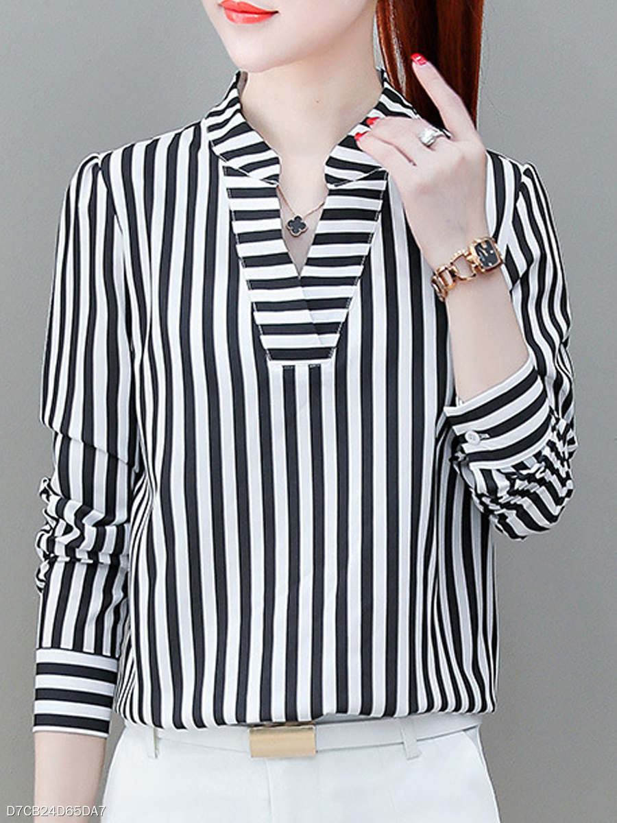 Autumn Spring  Women  V-Neck  Striped  Long Sleeve Blouses