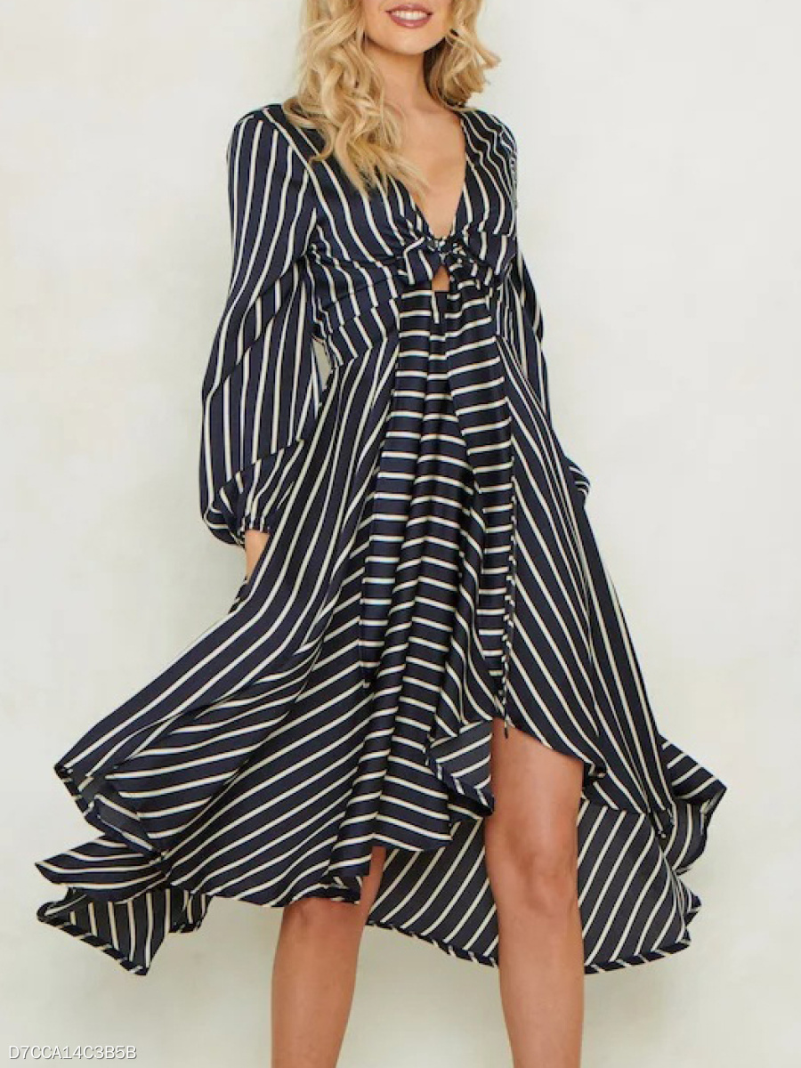 V-Neck  Striped Skater Dress