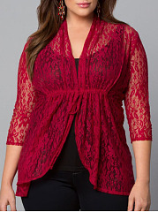Asymmetric Neck  Decorative Lace  Lace  Three-Quarter Sleeve Plus Size Blouses