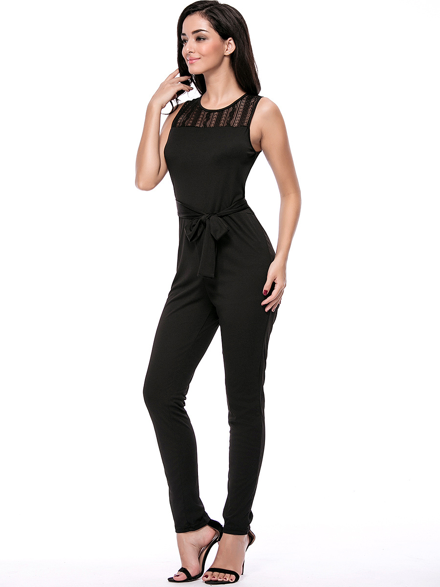 Round Neck  Hollow Out Solid Slim-Leg Jumpsuit In Black