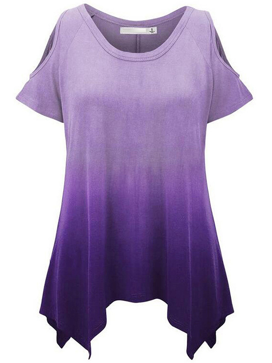 Open Shoulder Gradient Asymmetric Hem Short Sleeve T-Shirt