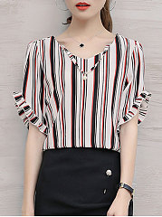 Summer  Chiffon  Women  V-Neck  Beading Flounce  Striped  Short Sleeve Blouses