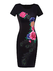 Round Neck Floral Cotton Bodycon Dress