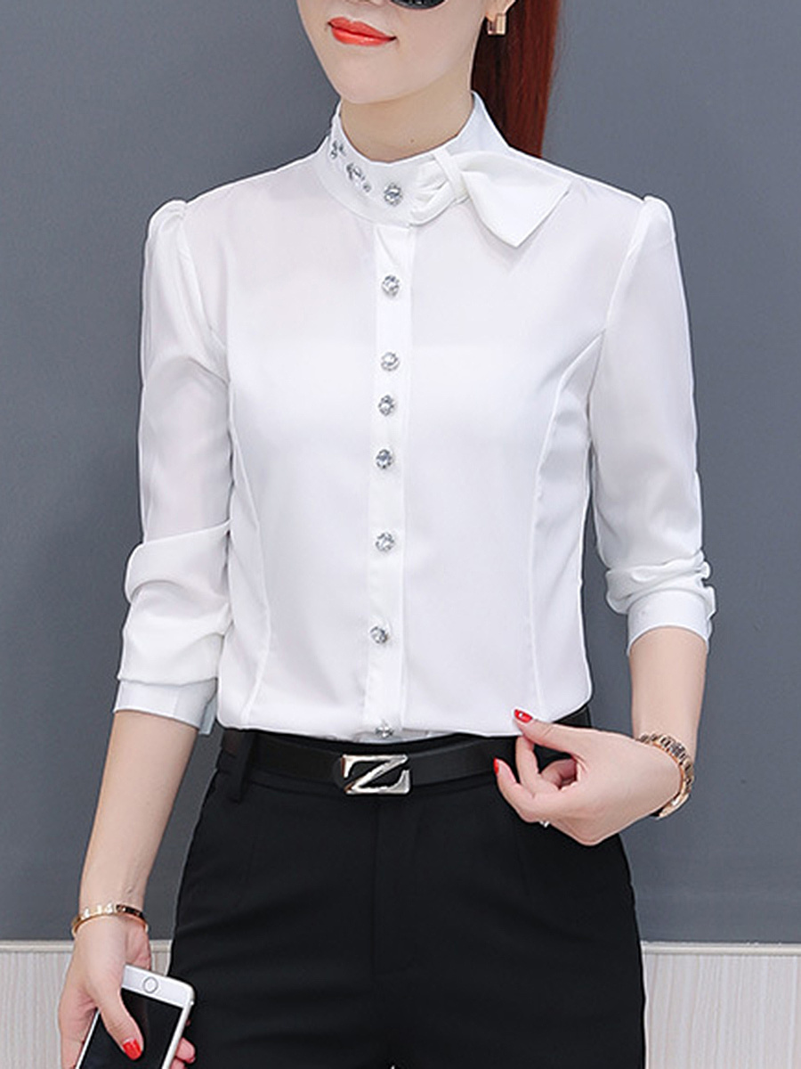 Designed Band Collar Chiffon Plain Blouse