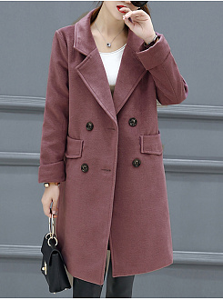 Lapel  Double Breasted Flap Pocket  Plain Coat