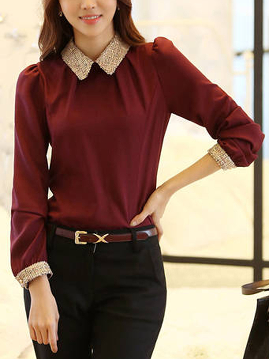 Contrast Doll Collar Chiffon Long Sleeve Blouse