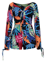 Tropical Printed Off Shoulder Romper With Split Tie Sleeve