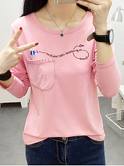 Autumn Spring  Polyester  Women  Round Neck  Patch Pocket  Letters Long Sleeve T-Shirts
