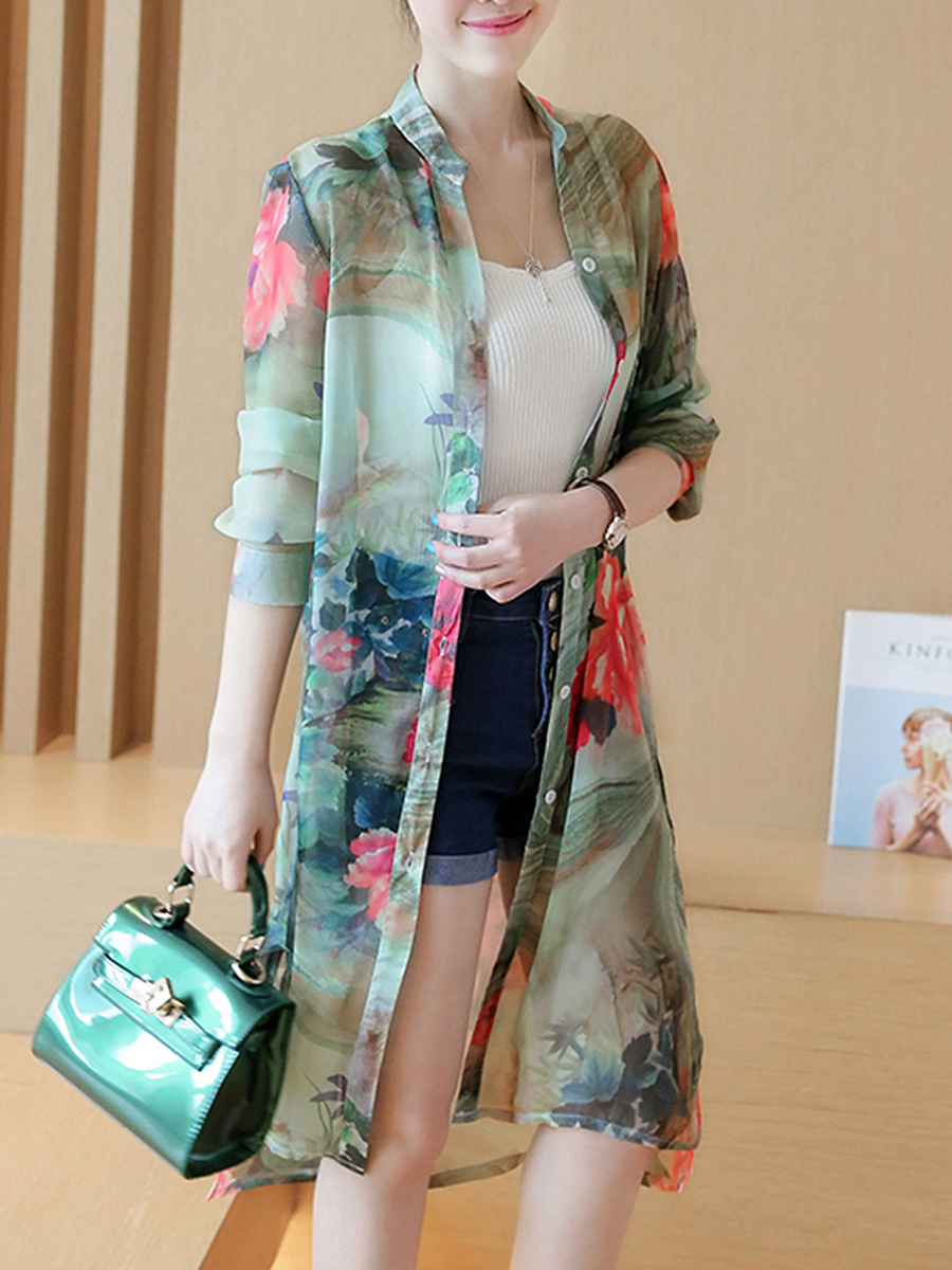 Band Collar  Abstract Print Long  Blouses