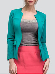 Collarless  Plain  Raglan Sleeve  Long Sleeve Blazers