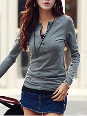 Henley Collar Plain Long Sleeve T-Shirt