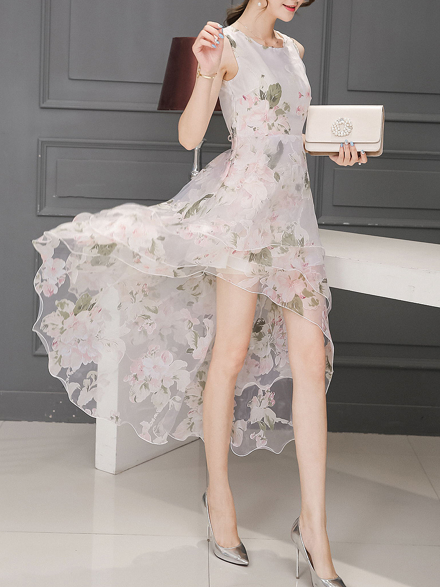 V-Neck  Floral Hollow Out Plain Multi Layer High-Low Organza Skater Dress