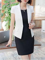 Notch Lapel  Flap Pocket  Single Button  Plain  Short Sleeve Blazers