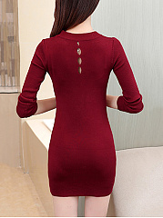 Band Collar Keyhole Rivet Plain Knit Mini Bodycon Dress