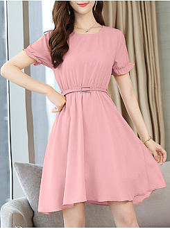 Round Neck  Elastic Waist  Plain Skater Dress