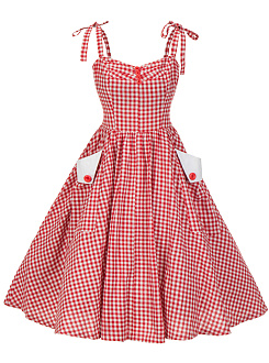 Spaghetti Strap Plaid Flap Pocket Midi Skater Dress