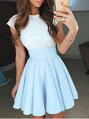 Round Neck Patchwork Color Block Skater Dress